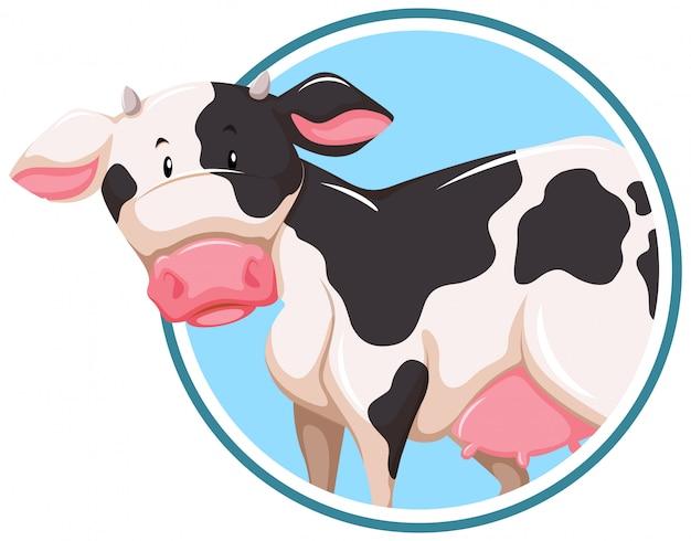 Eine kuh auf aufkleberschablone