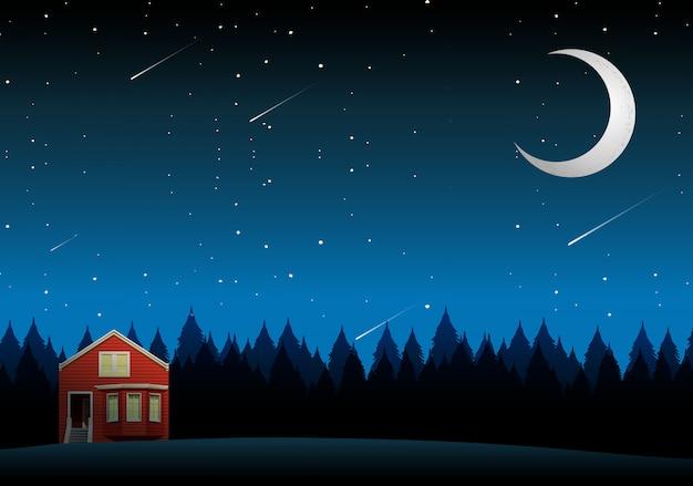 Eine ländliche hauslandschaft nachts