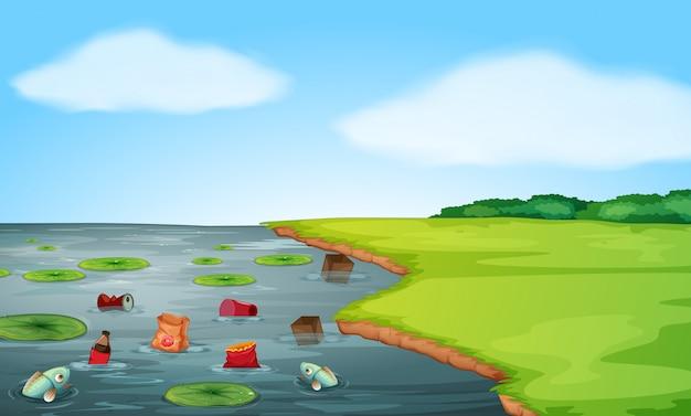 Eine landschaft mit wasserverschmutzung