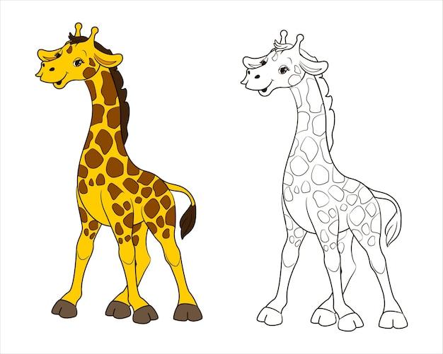 Eine langhalsige gefleckte giraffe. malvorlage für kinder schwarz und weiß. vektor-illustration im cartoon-stil, isolierte strichzeichnungen