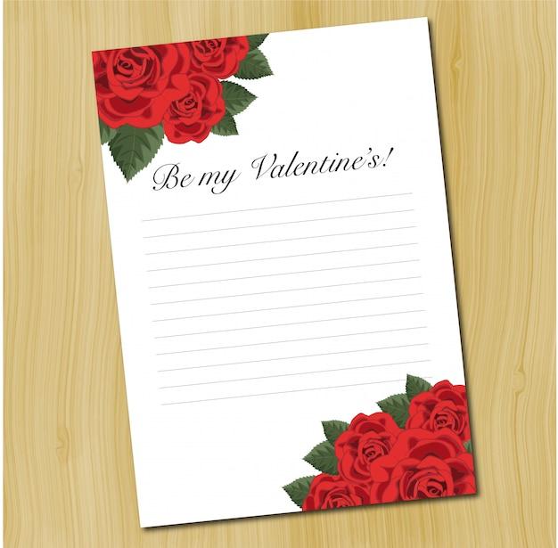 Eine leere liebesbriefschablone mit roten rosen