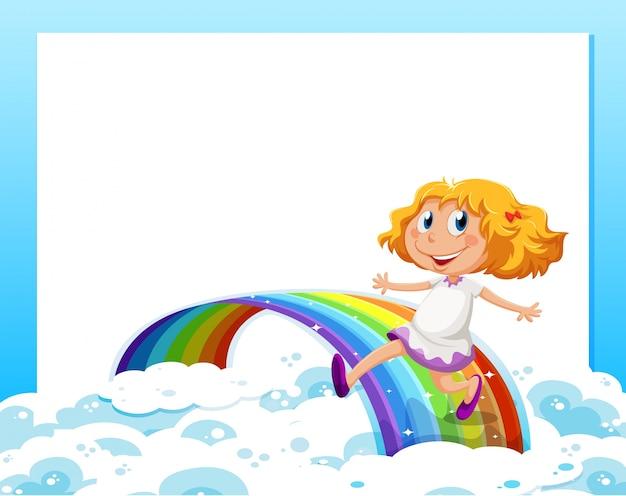 Eine leere schablone mit einem mädchen an der unterseite, die mit dem regenbogen spielt