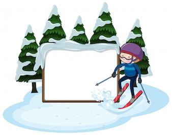 Eine leere Ski-und Schnee-Vorlage