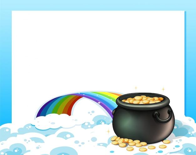 Eine leere vorlage mit einem goldschatz und einem regenbogen