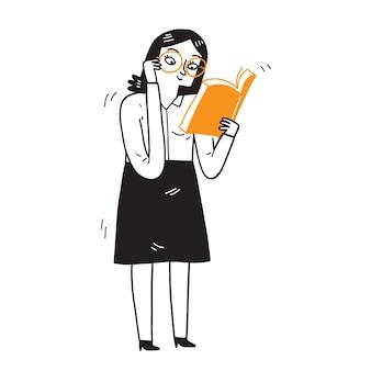 Eine lehrerin bewegt ihre brille, damit sie ein großes buch deutlich lesen kann. handzeichnungsvektorillustration