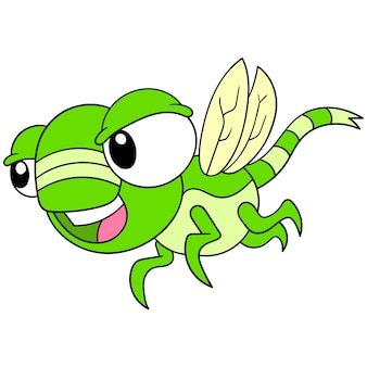 Eine libelle mit einem wütenden gesicht mit großen augen flog, vektorillustrationskunst. doodle symbolbild kawaii.