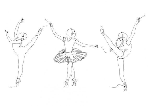 Eine linie ballerina pose set logos lager illustration vektor