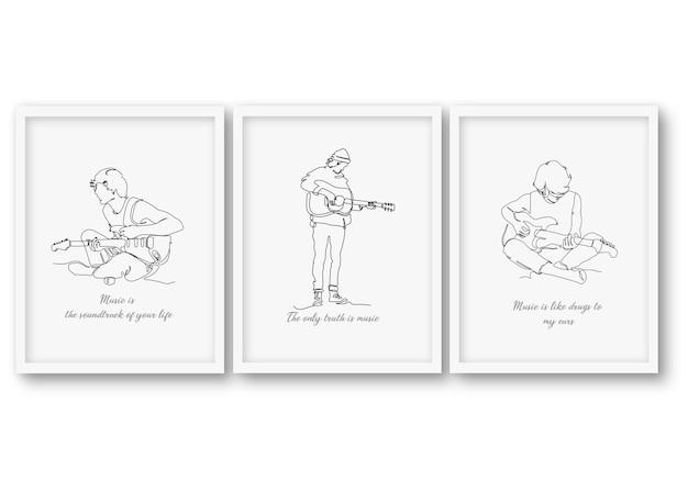 Eine linie, die gitarrenmannillustration auf minimalem rahmen spielt