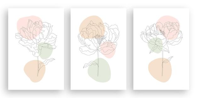Eine linie, die minimalistische blumenillustration im strichkunststil zeichnet