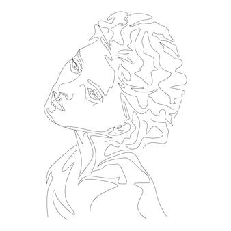 Eine linie, die minimalistische frauenkopfillustration zeichnet