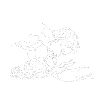 Eine linie, die minimalistisches paar küsst gesicht illustration