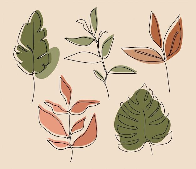 Eine linie durchgehend von blättern, einzeilige zeichnungskunst, tropische blätter, botanisches pflanzenset