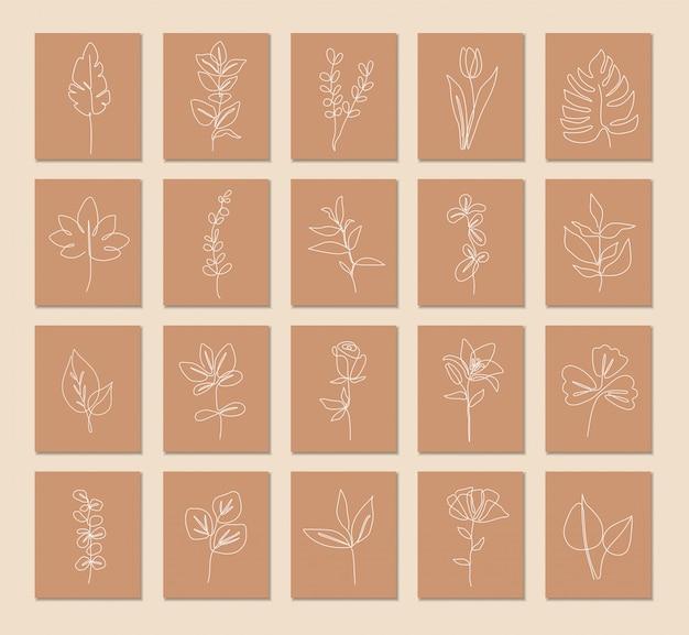 Eine linie durchgehend von pflanzensatz, einzelne strichzeichnung kunst, tropische blätter, botanische pflanze isoliert, einfaches kunstdesign, abstrakte linienkontur, für rahmen, modedesign, verpackung