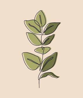 Eine linie kontinuierlich von blume, einzelne linie zeichnungskunst, tropisches blatt