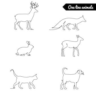 Eine linie tiere gesetzt, logos lager illustration mit hirsch, fuchs kaninchen und andere