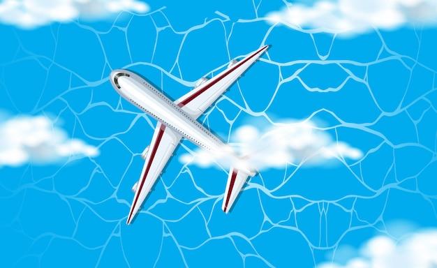 Eine luftaufnahme des flugzeugs im himmel