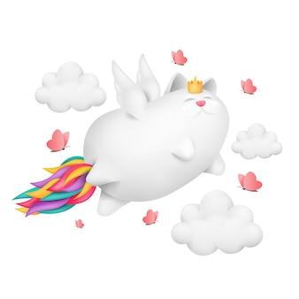 Eine lustige einhornkatze mit regenbogenschwanzcharakter fliegt über den himmel.