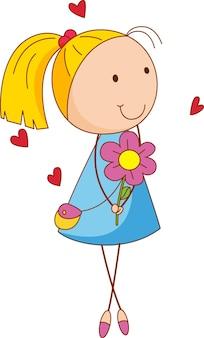 Eine mädchen-cartoon-figur, die eine blume im doodle-stil isoliert hält