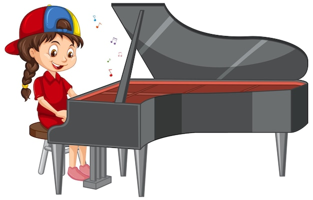 Eine mädchen-cartoon-figur, die klavier spielt
