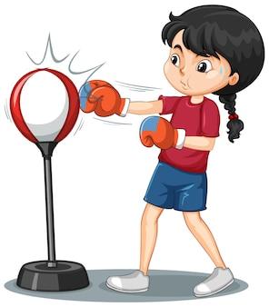 Eine mädchenkarikaturfigur, die boxübung tut