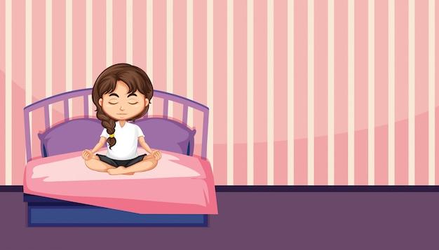 Eine mädchenmeditation im schlafzimmer