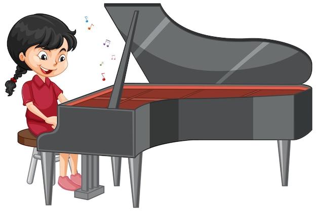 Eine mädchenzeichentrickfigur, die klavier spielt