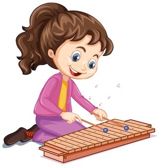 Eine mädchenzeichentrickfigur, die xylophon spielty