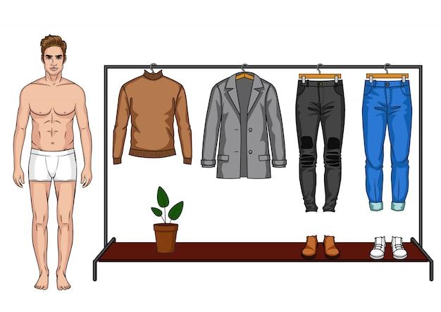 Eine männliche moderne garderobe für die herbstsaison.
