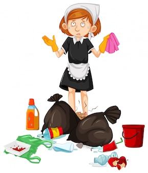 Eine maid mit schmutzigem abfall