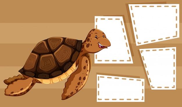 Eine meeresschildkröte auf leerer schablone