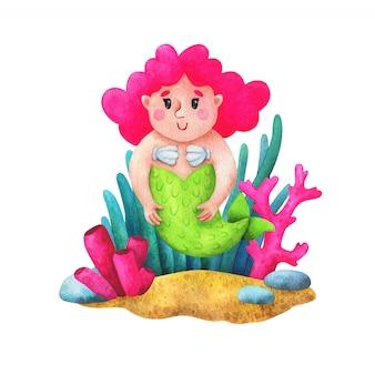 Eine meerjungfrau mit rosa haaren in seetang. kinderillustration im karikaturstil