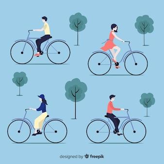Eine menge leute, die fahrrad fahren