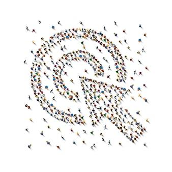 Eine menschenmenge in form des cursors auf weißem hintergrund. vektor-illustration
