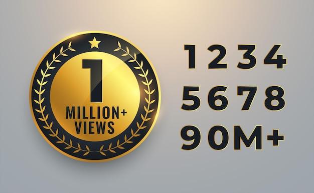 Eine million aufrufe zählen goldenes etikett