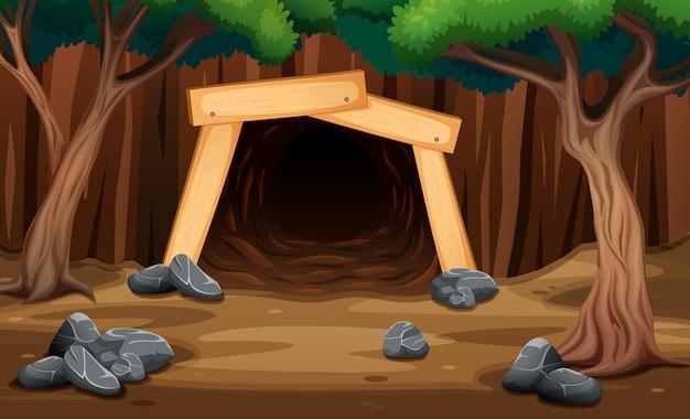 Eine minenhöhle von außen ansicht illustration