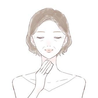 Eine mittelalte frau, die ihre haut mit feuchtigkeit versorgt, indem sie mit lotion gefüllte baumwolle auf ihren hals aufträgt. auf weißem hintergrund.
