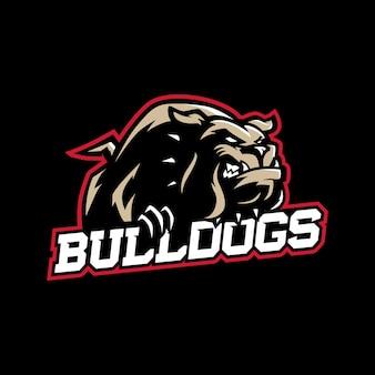 Eine mittlere schauende karikaturbulldogge mit kragen in der sportvektor-logoart