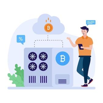 Eine moderne flache illustration der bitcoin-industrie