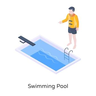 Eine moderne isometrische illustration des swimmingpools