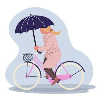 Eine mutter fährt mitten in der regenzeit mit dem fahrrad, nachdem sie lebensmittel gekauft hat. vorlagen für zielseiten