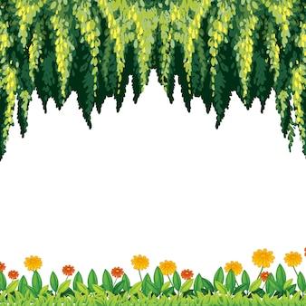 Eine natürliche grüne und blumen-schablone