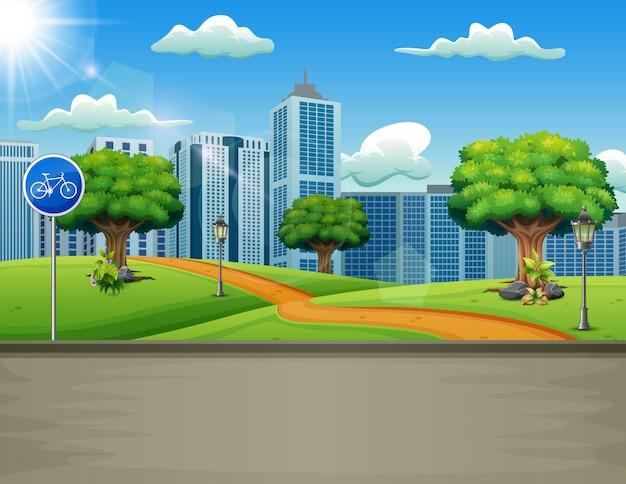 Eine natürliche straßenansicht mit städtischem hintergrund