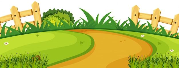 Eine naturgarten-landschaftsillustration