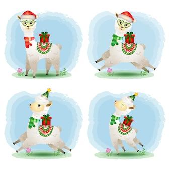 Eine niedliche alpaka-weihnachtszeichensammlung