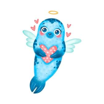 Eine niedliche cartoon cupid robbe isoliert. valentinstag tiere.