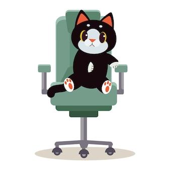 Eine niedliche charakterkatze, die auf dem stuhl sitzt und es schaut, verwirren.
