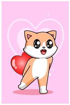 Eine niedliche katze, die ein großes herz auf valentinstagkarikaturillustration hält