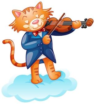 Eine niedliche katze, die geige spielt