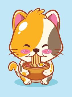 Eine niedliche katze, die ramen-nudel-karikaturcharakterillustration isst