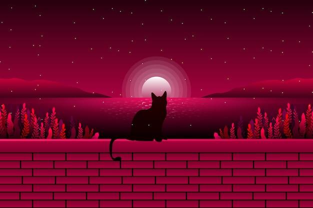 Eine niedliche katze, die seeansicht und sternenklare nachtlandschaft schaut